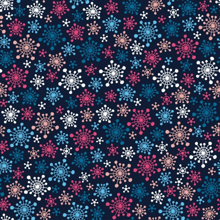 stylize: Seamless dark pattern with color stylized snowflakes