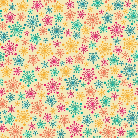 Seamless cute pattern with color stylized snowflakes  Vector