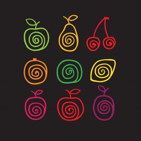 Stylized color swirly fruits icons illustration