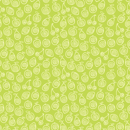 Cute green pattern with stylized fruits  illustration Vector
