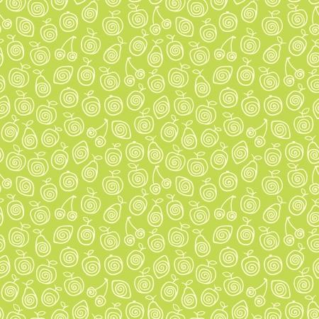 Uroczy zielony wzór z stylizowane ilustracji owoców