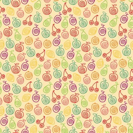 Cute retro pattern with stylized fruits  illustration