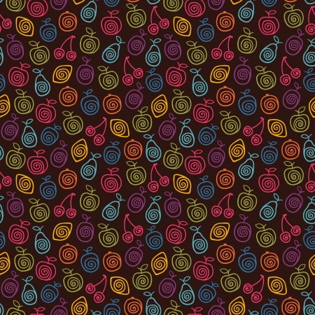 Cute color pattern with stylized fruits  illustration Illustration