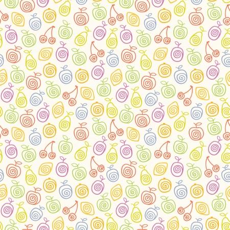 Śliczne lekki wzór z owoców stylizowane ilustracji