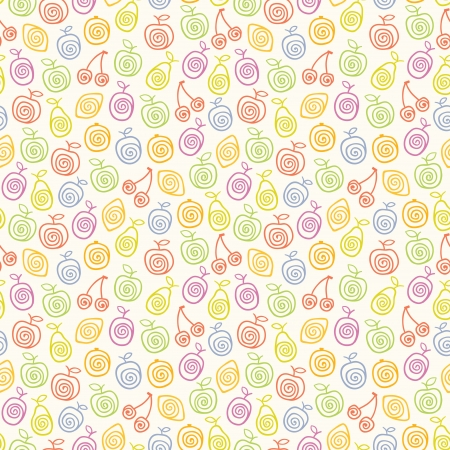 Cute light pattern with stylized fruits  illustration