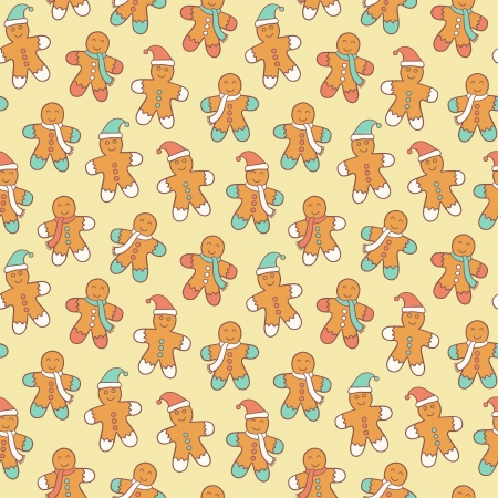 christmas seamless pattern: Seamless cute pattern with gingerbread men Illustration