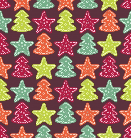 Seamless color pattern with color stars and christmas trees Vector