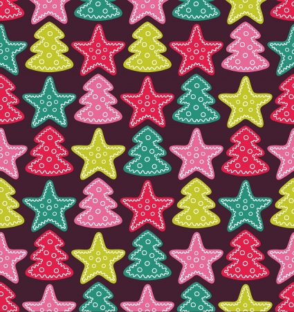 Seamless cute pattern with color stars and christmas trees Vector