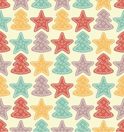 Seamless pattern with color stars and christmas trees Stock Vector - 16710893