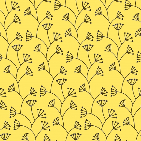 Stylish seamless yellow floral pattern Vector
