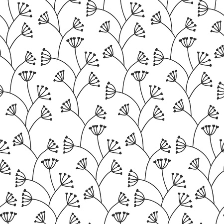 Beautiful seamless floral pattern  Black and white Vector