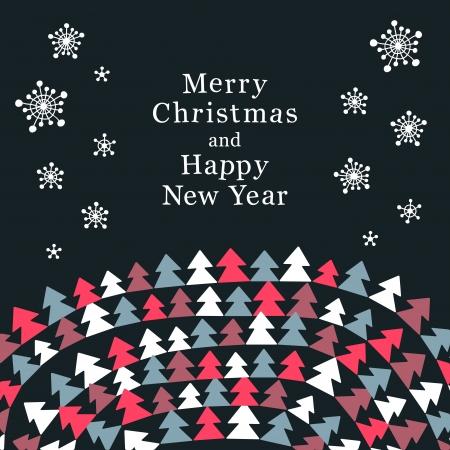 Stylish greeting card  Christmas trees and snowfall illustration Stock Vector - 16723417