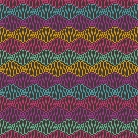 Abstract seamless color pattern with curly lines.   Vector