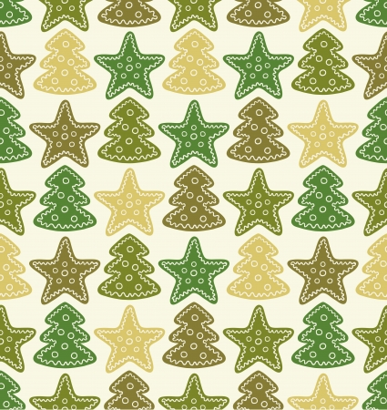 Seamless pattern with stars and christmas trees.  illustration Vector