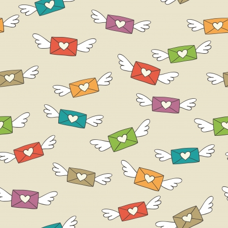 Cute seamless pattern with flying love letters    Stock Vector - 16832613
