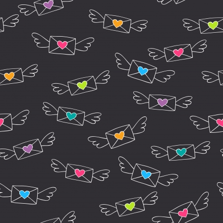 love letters: Cute seamless pattern with flying love letters    Illustration