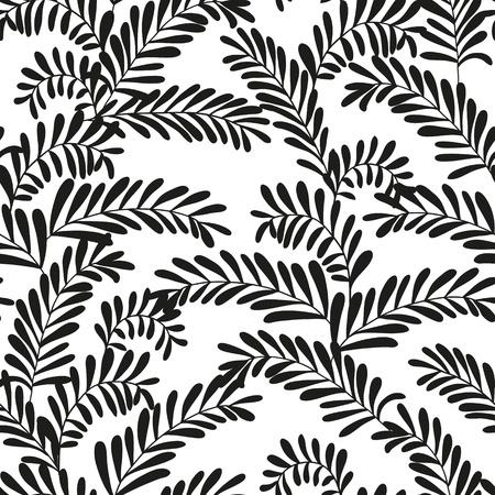Piękna bez szwu liści wzór czarno-białych ilustracji wektorowych