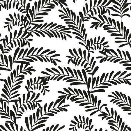 Beautiful seamless leaf pattern  Black and white  Vector illustration