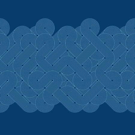 Seamless abstract blue border  Twisted lines  Vector illustration Vector