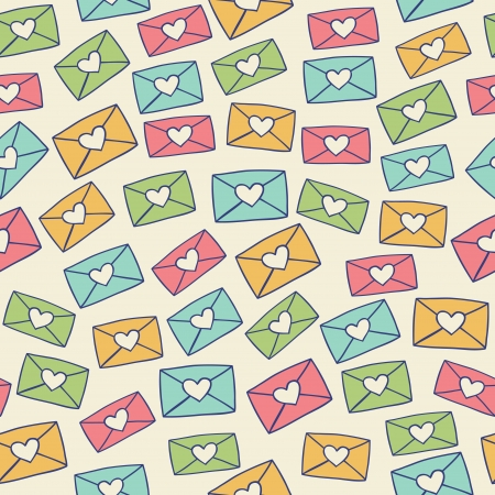 Cute seamless pattern with color love letters  Vector illustration