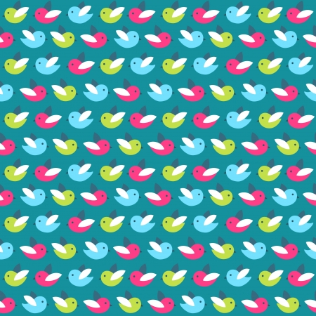 Seamless stylish pattern with cute birds Vector