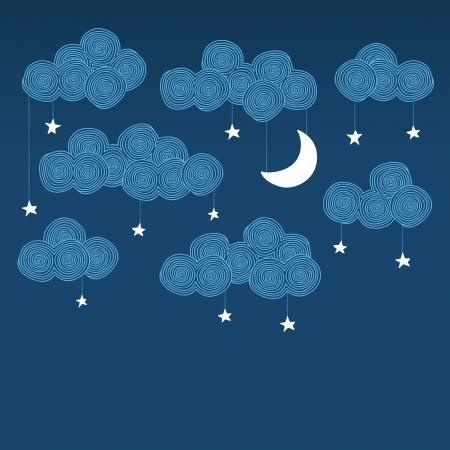 Cute hand drawn night sky