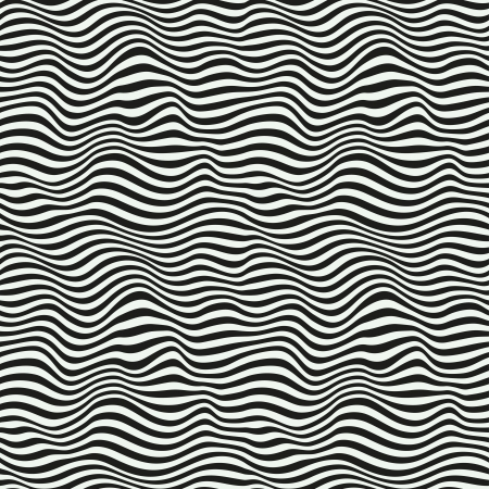 distorted: Perfect seamless striped pattern  Black and white
