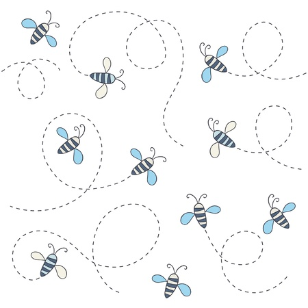 Seamless cute pattern with bees  illustration Illustration