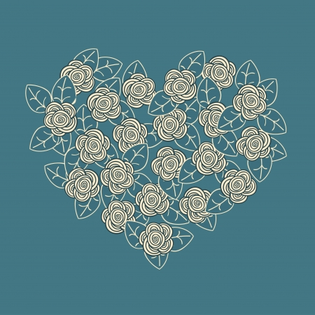 roses and hearts: Beautiful rpmantic card  Flower heart  Vector illustration Illustration