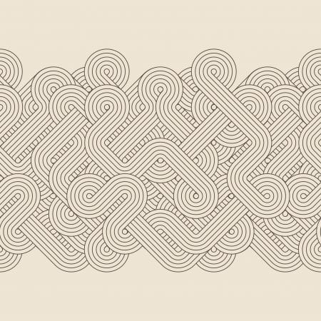 stylize: Naadloze abstracte grens met gedraaide lijnen Vector
