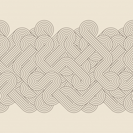 Seamless abstract border with twisted lines  Vector Vector