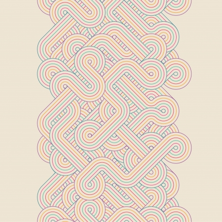 Seamless abstract border with twisted lines  Vector