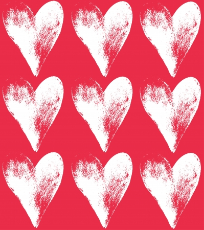 Stylish red pattern with grunge hearts  Vector illustration Vector