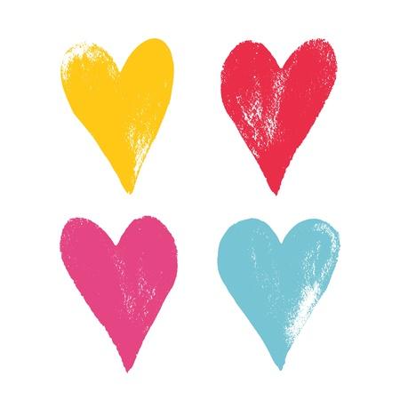 Set of color grunge hearts  Vector illustration
