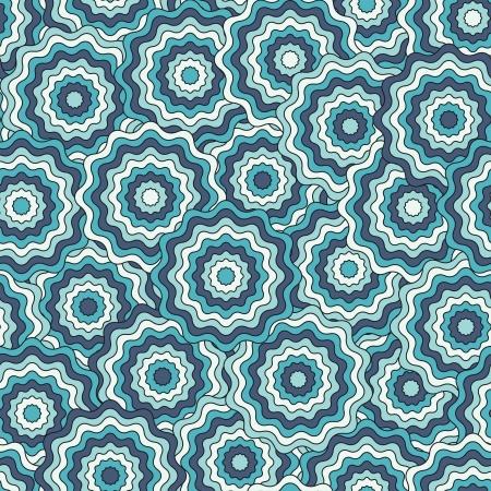 circulos concentricos: Resumen patrón sin costuras en colores azul ilustración vectorial