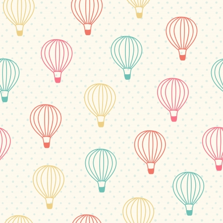 Seamless pattern with color hot air balloons