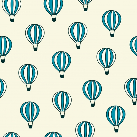 Seamless pattern with color hot air balloons Vector