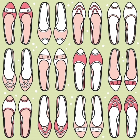 flat shoes: Seamless pattern with hand drawn shoes illustration Illustration