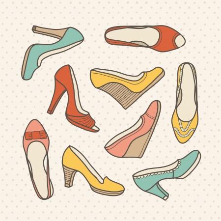 shoe sale: Color hand drawn retro shoes illustration Illustration