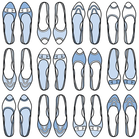 Seamless pattern with hand drawn shoes illustration illustration