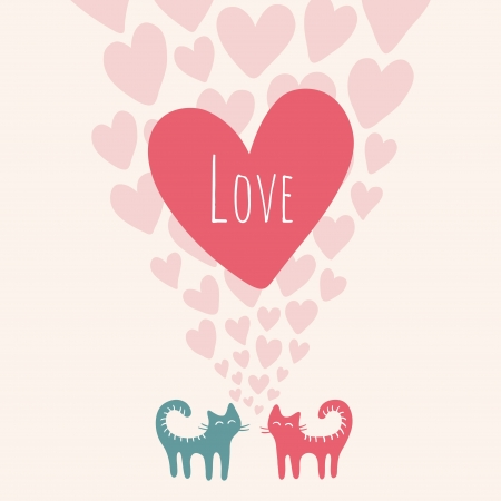 Cute card with cats in love. illustration