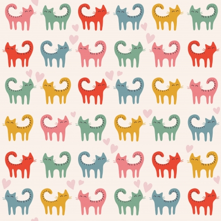 Cute pattern with color cats. illustration Illustration
