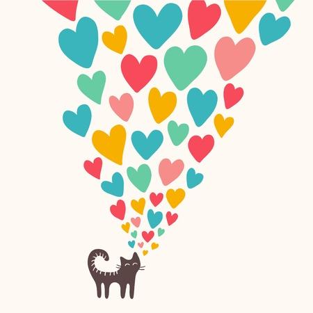 corazon: Tarjeta linda con el gato en love.illustration