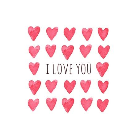 Stijlvolle liefde kaart met aquarel harten. illustratie