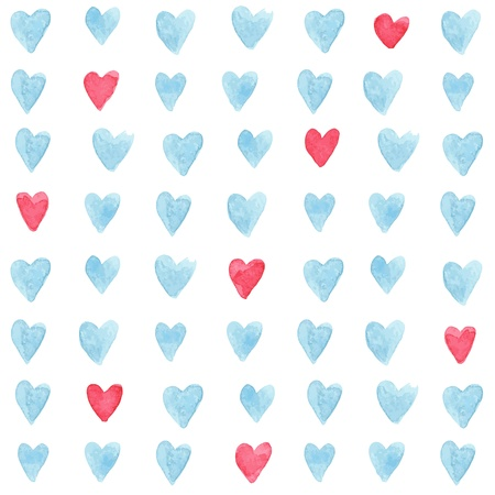 Stylish pattern with watercolor hearts.illustration