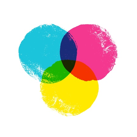 CMYK grunge hand drawn circles. Vector background