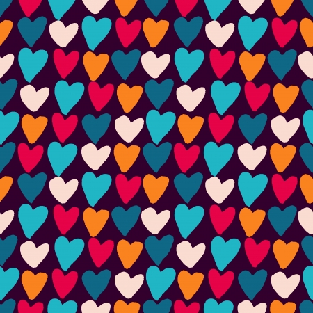 Stylish pattern with bright grunge hearts. Vector Vector