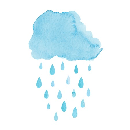 Watercolor hand drawn rainy cloud. Vector illustration
