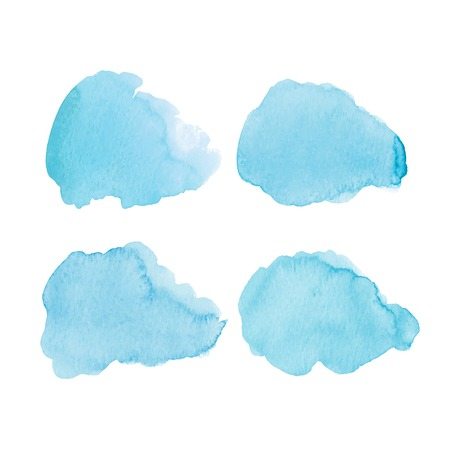 Set of blue watercolor clouds. Vector illustration