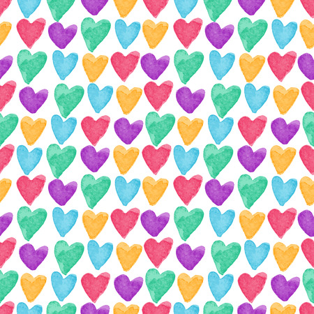 Stylish pattern with bright watercolor hearts. Vector illustration